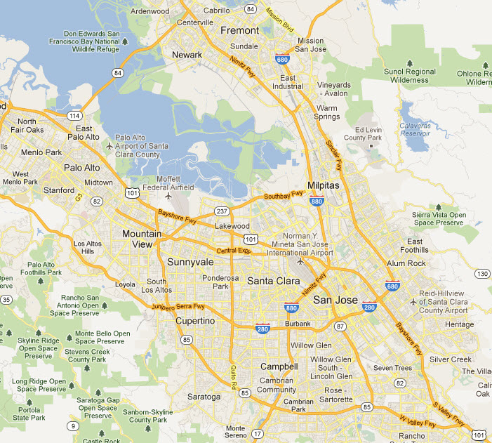 Areas Covered by Free Courier Pick-up in Bay Area, CA