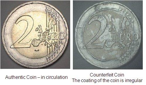 Counterfeit Analysis - Authentic Euro Coin versus the Counterfeit - by Nanolab Technologies