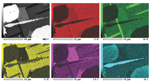 Element Map - Cr, Al, Si, Fe, and Zr using EDS on SEM